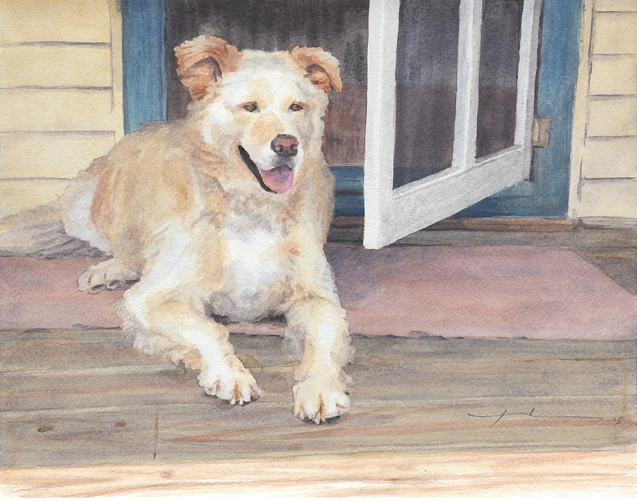 Golden Retriever In Shade Watercolor Portrait Drawing by Mike Theuer