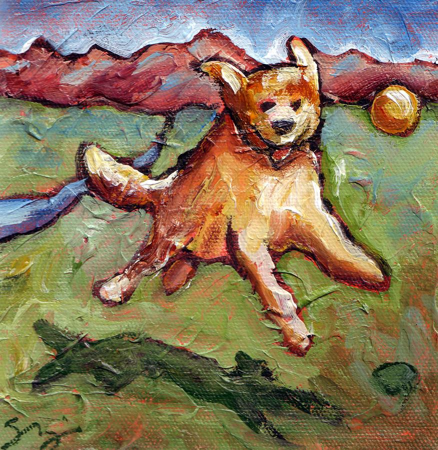 Dog Painting - Golden Retriever Jump by Sara Zimmerman