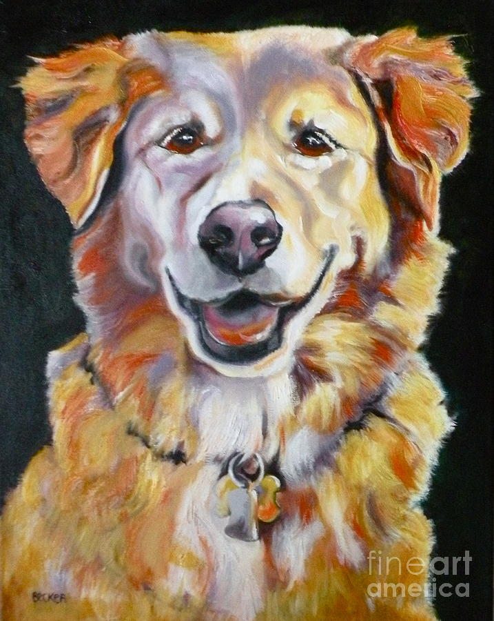 Dogs Painting - Golden Retriever Most Huggable by Susan A Becker