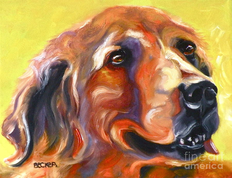 Oil Painting - Golden Retriever The Shadow Of Your Smile by Susan A Becker