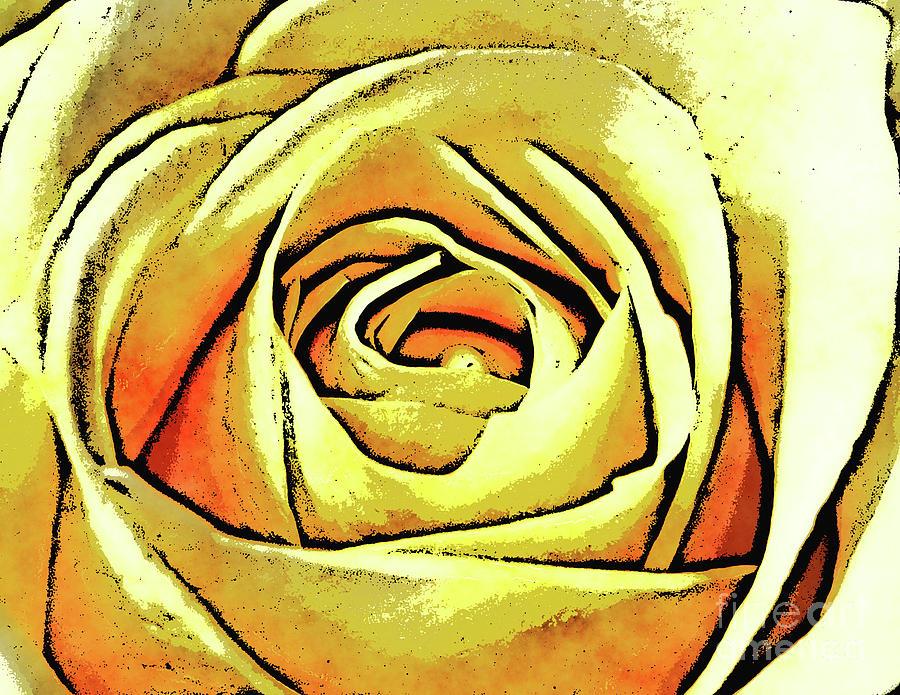 Texture Digital Art - Golden Rose Flower by Phil Perkins
