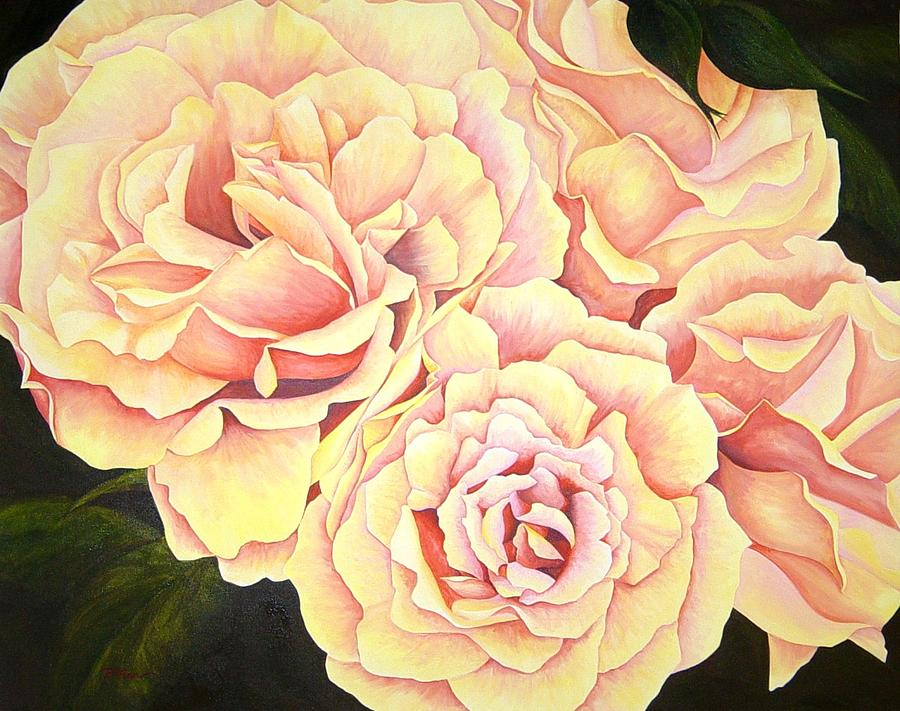 Roses Painting - Golden Roses by Rowena Finn