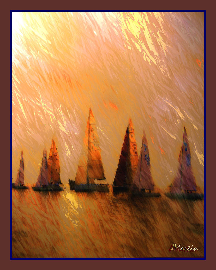 Boats Photograph - Golden Sail by Joseph Martin
