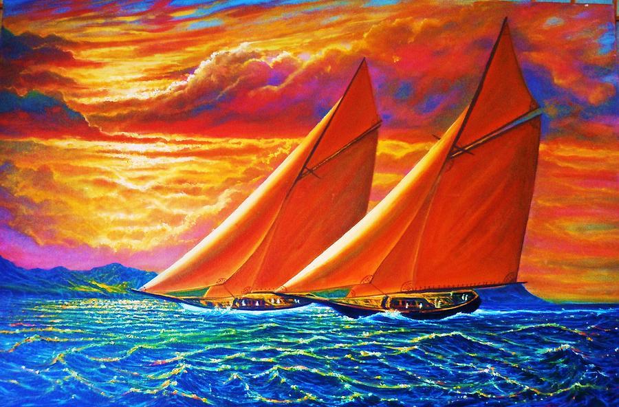 Seascape Painting - Golden Sails by Joseph   Ruff