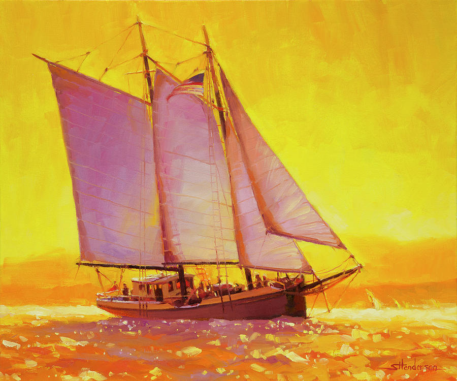 Sail Painting - Golden Sea by Steve Henderson