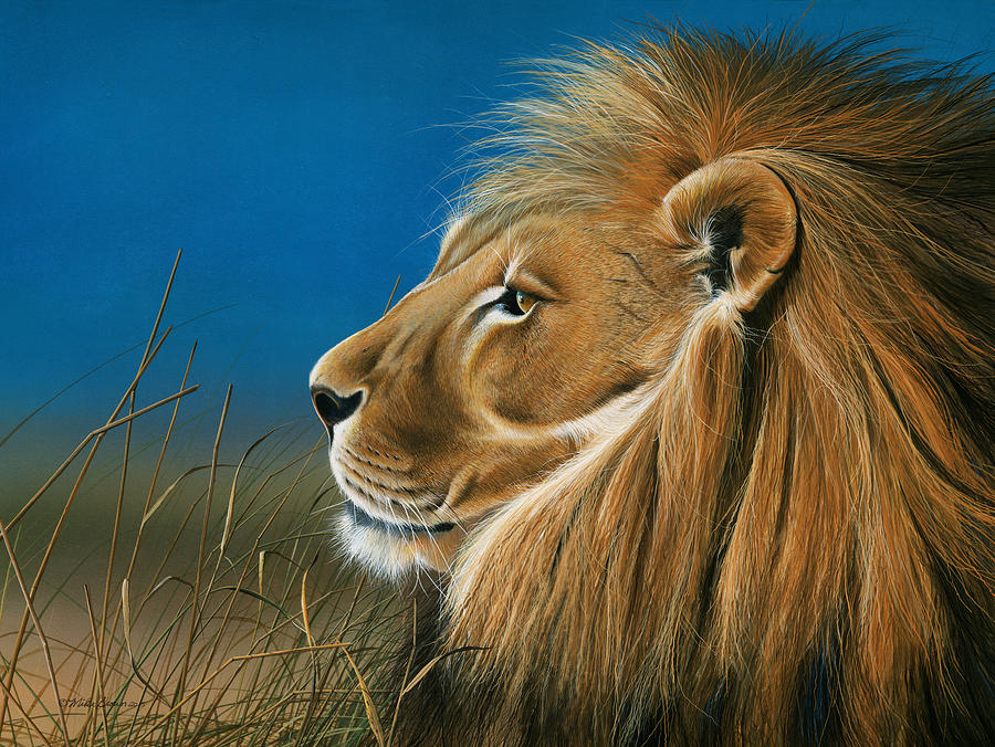 Lion Painting - Golden Sentinal by Mike Brown