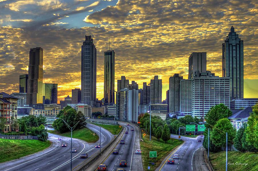 Downtown Atlanta Photograph - Golden Skies Atlanta Downtown Sunset Cityscape Art by Reid Callaway
