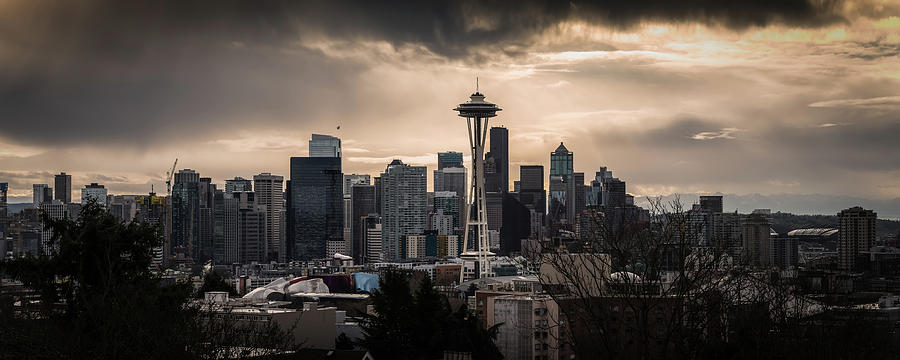 Seattle Photograph - Golden Sky Seattle by Chris McKenna