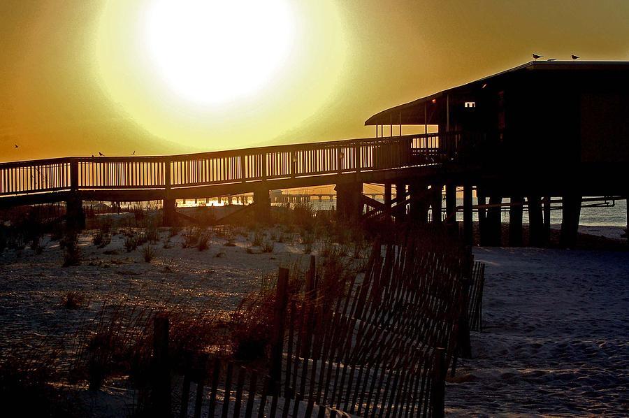 Beach Painting - Golden Slats by Michael Thomas