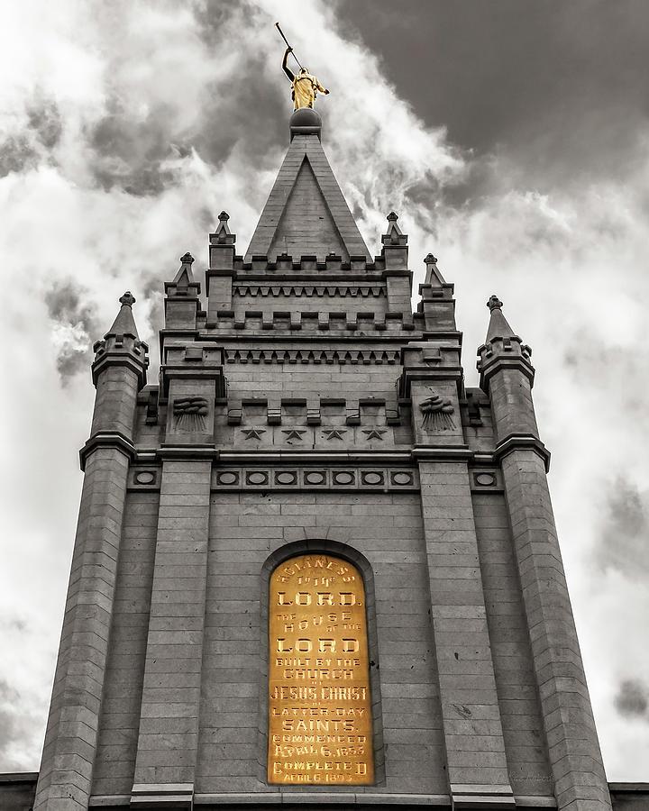 Architecture Photograph - Golden Slc Temple by La Rae  Roberts