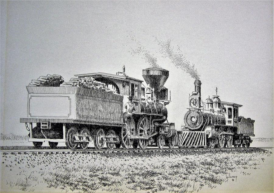 Steam Locomotives Drawing - Golden Spike Promontory Point Utah by Kevin Heaney