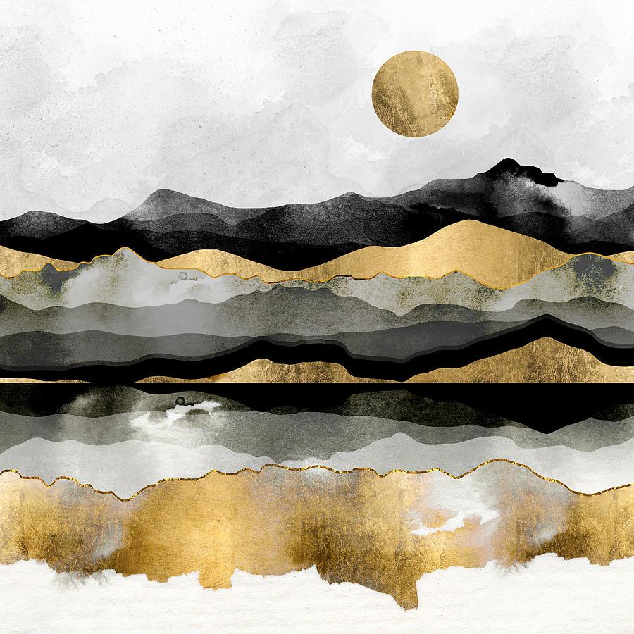 Gold Digital Art - Golden Spring Moon by Spacefrog Designs