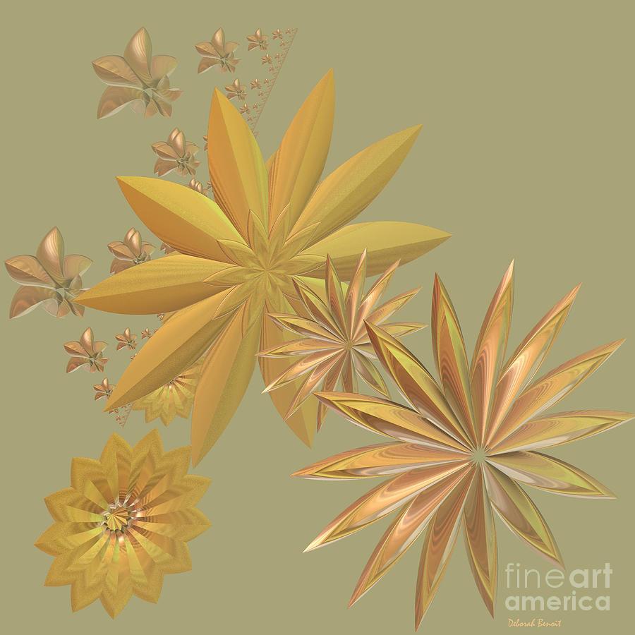 Stars Digital Art - Golden Stars by Deborah Benoit