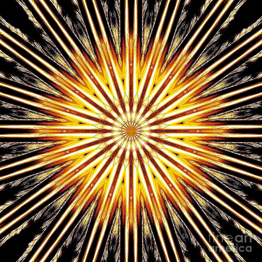 Golden Sun Of Nirvana Digital Art by Sofia Metal Queen