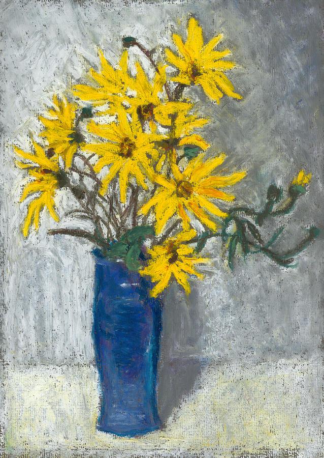 Sunflowers Pastel - Golden Sunflowers In Blue Vase by Judy Adamson