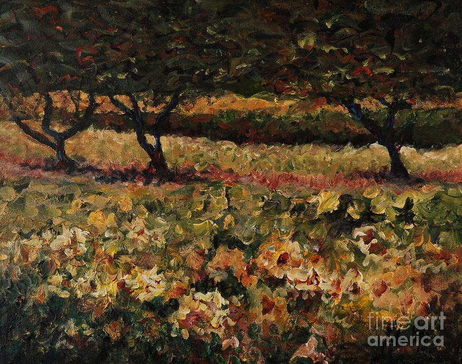 Landscape Painting - Golden Sunflowers by Nadine Rippelmeyer
