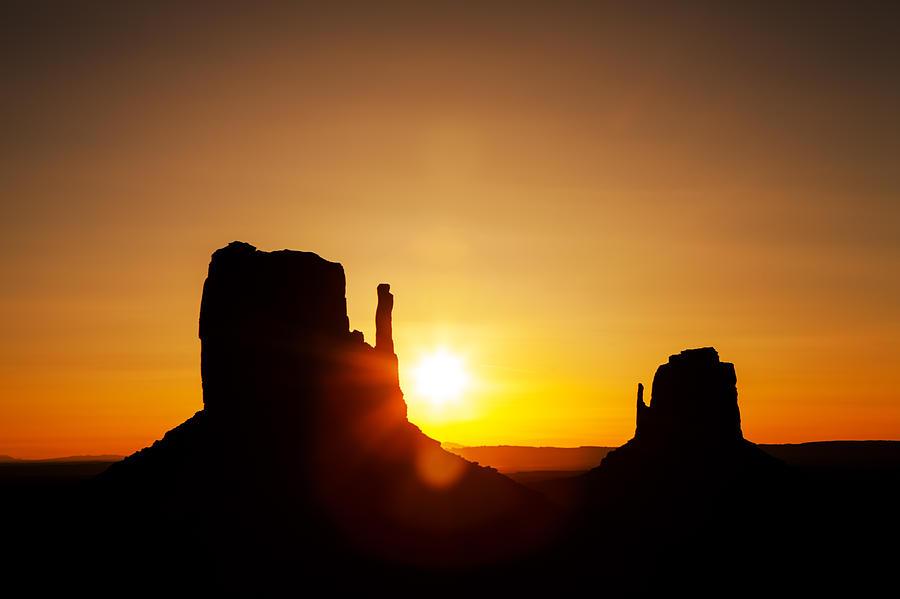 Mountain Photograph - Golden Sunrise In Monument Valley National Park by Susan Schmitz