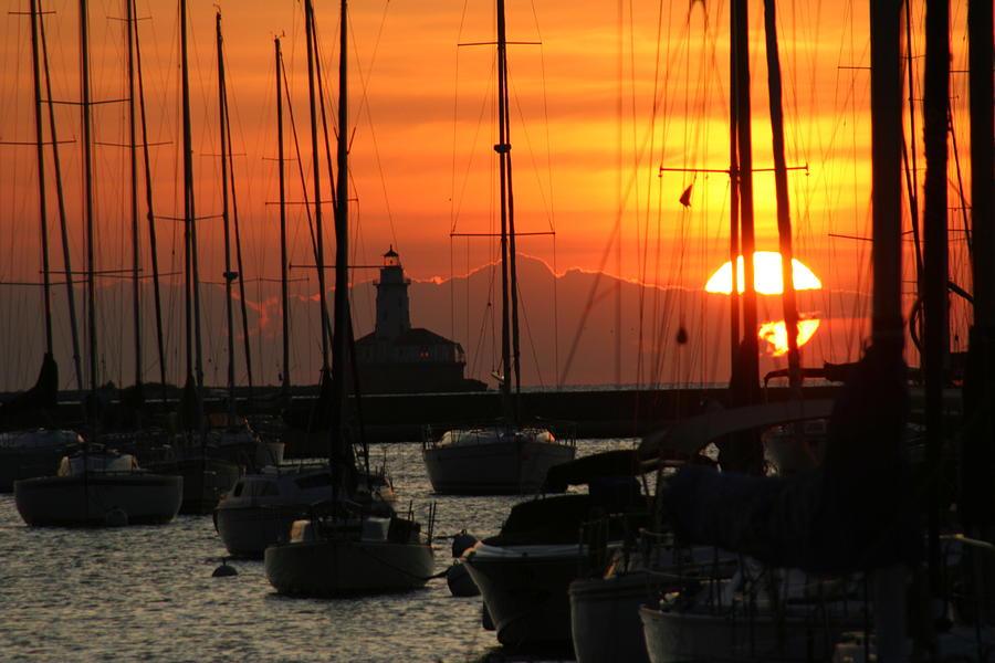 Lake Photograph - Golden Sunrise On Monroe Harbor by Gregory Jeffries