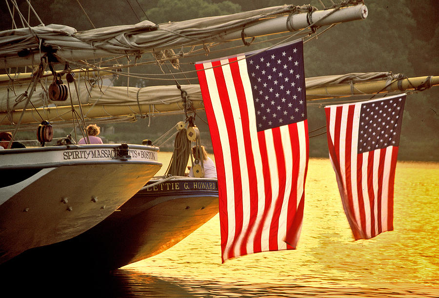 Sunset Photograph - Golden Sunset And American Flags by Stephen Sisk