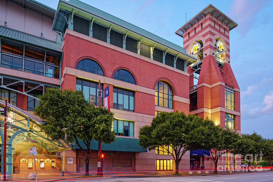 Downtown Photograph - Golden Sunset Glow On The Facade Of Minute Maid Park - Downtown Houston Harris County Texas by Silvio Ligutti