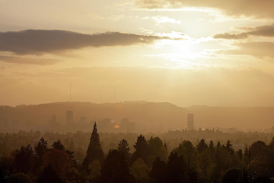 Sunset Photograph - Golden Sunset over Portland Skyline by David Gn
