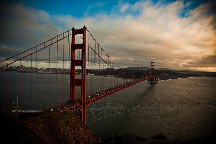 Golden Gate Bridge Photograph - Golden Sunset by Patrick  Flynn