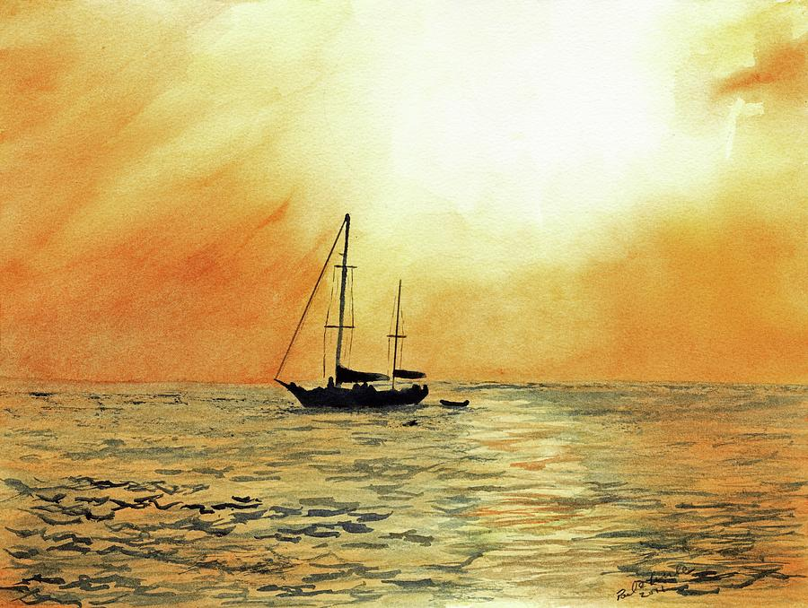 Seascape Painting - Golden Sunset by Paul Temple