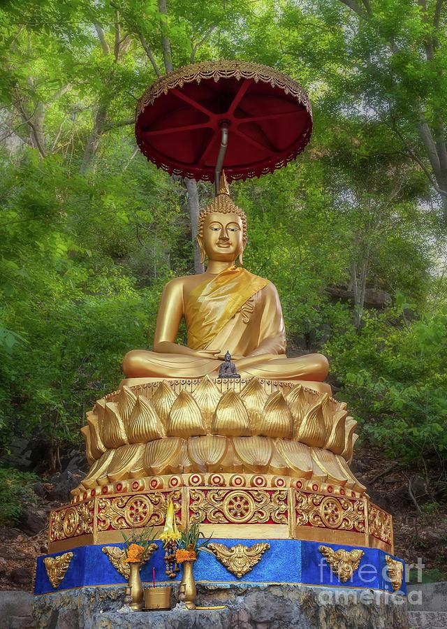 Temple Photograph - Golden Thai Buddha by Adrian Evans