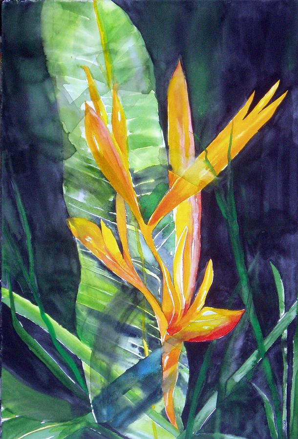 Tropical Plant Painting - Golden Torch by Maritza Bermudez