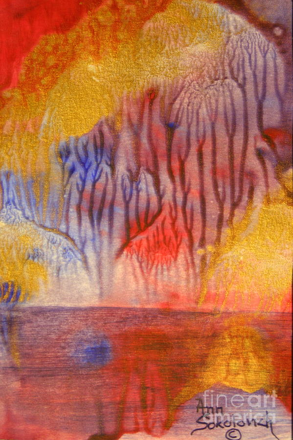 Abstract Painting - Golden Trees Of The Enchanted Forest by Ann Sokolovich