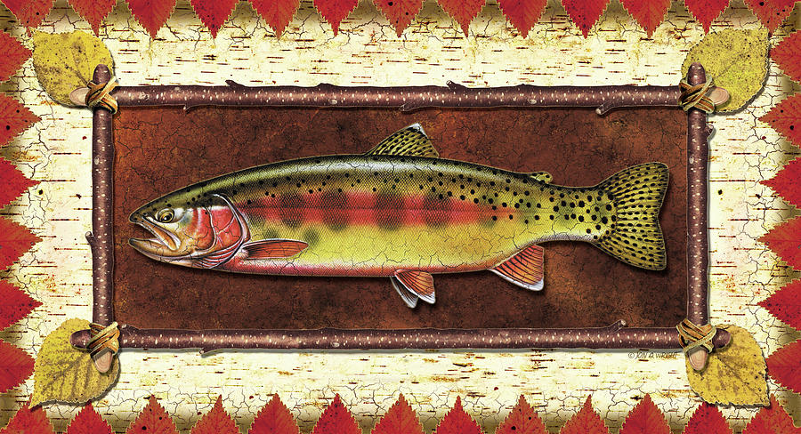 Trout Painting - Golden Trout Lodge by JQ Licensing