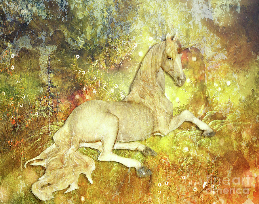Golden Unicorn Dreams by Digital Art Cafe