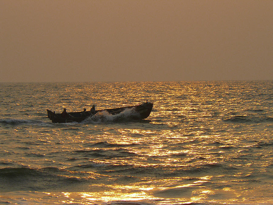 Sunset Photograph - Golden Waters They Ply by Sandeep Gangadharan