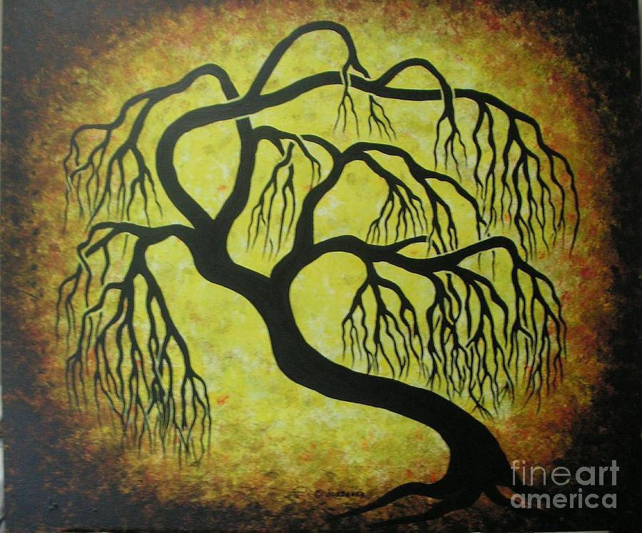 Landscape Painting - Golden Willow Tree  by Jordanka Yaretz