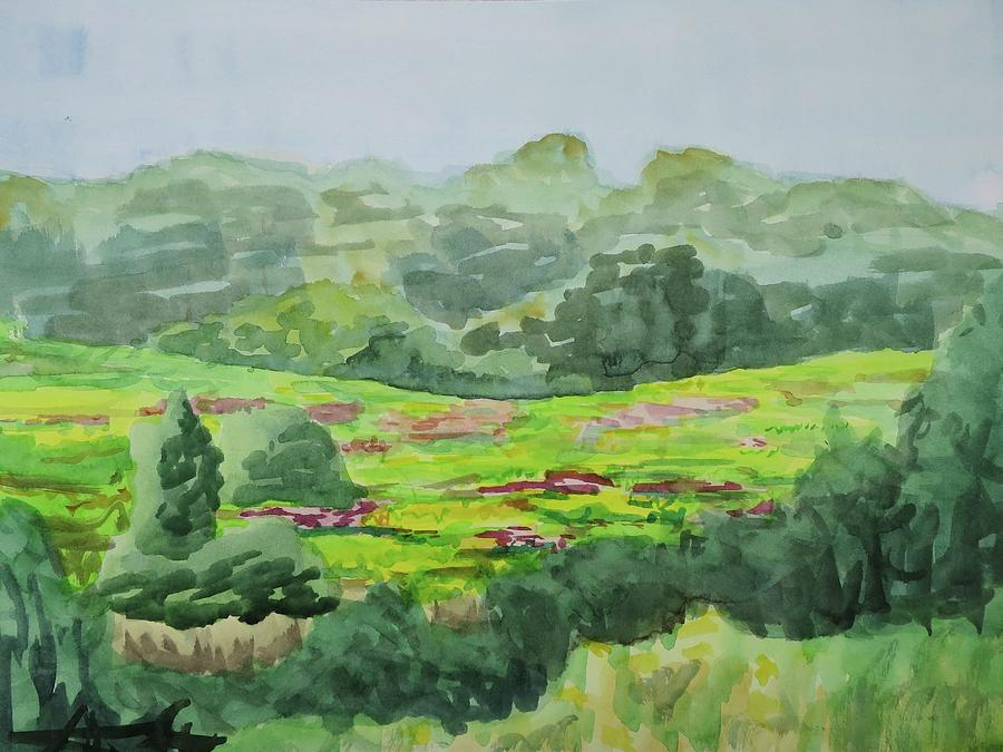 Watercolor Landscape Painting - Goldenrod Field by Bethany Lee