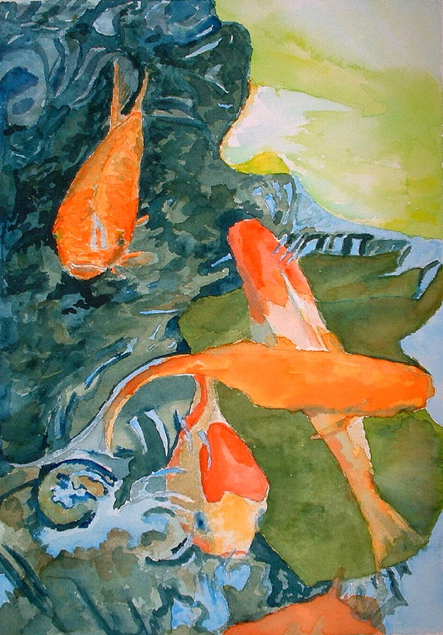Goldfish Painting - Goldface - Watercolor by Donna Hanna