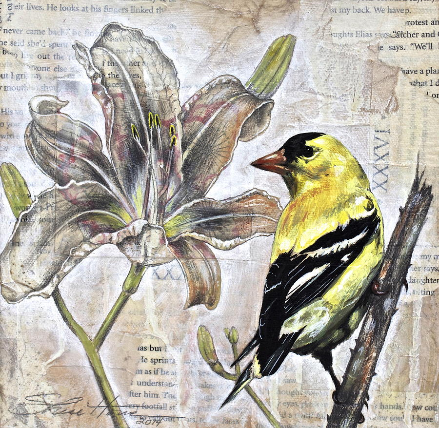 Mixed Media Painting - Goldfinch And Lily by Sheri Howe