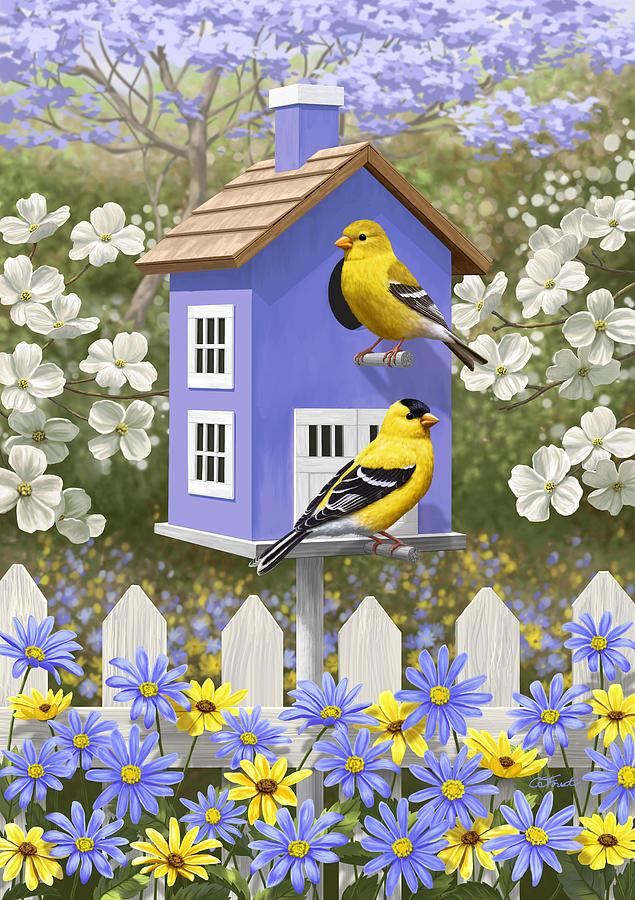 Wild Birds Painting - Goldfinch Garden Home by Crista Forest