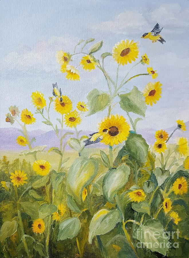 Goldfinch Painting - Goldfinches On Sunflowers by Dorothy Weichenthal