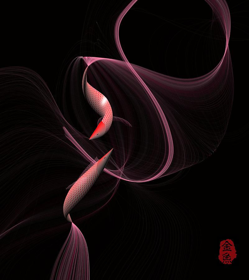 Goldfish Digital Art - Goldfish 2 by GuoJun Pan