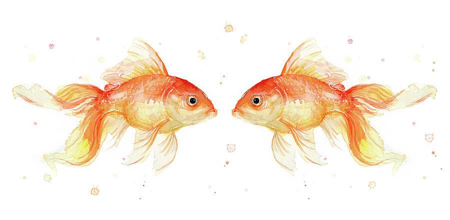 Gold Painting - Goldfish Love Watercolor by Olga Shvartsur