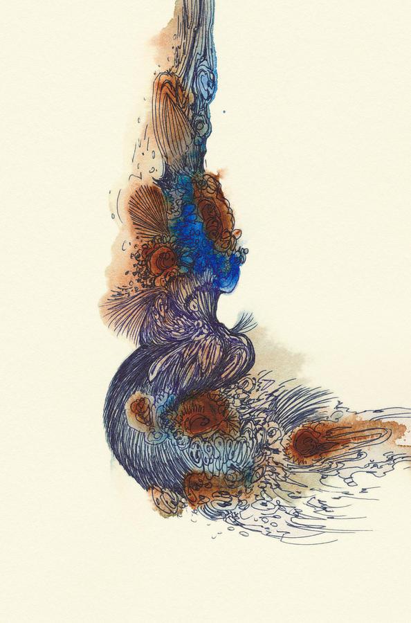 Goldfish Drawing - Goldfish - #ss14dw026 by Satomi Sugimoto