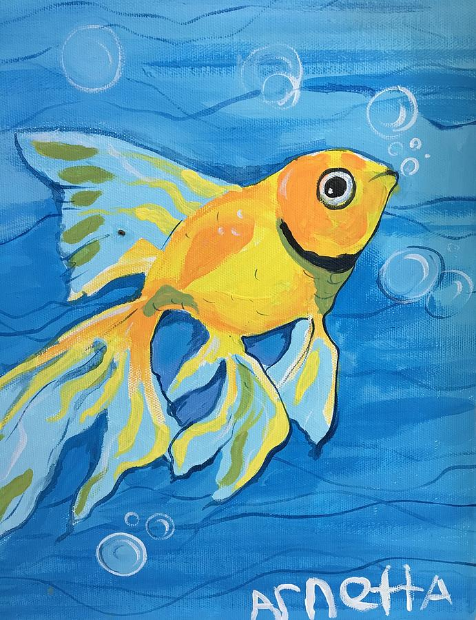 Fish Painting - Goldfish Whisper by Arnetta T