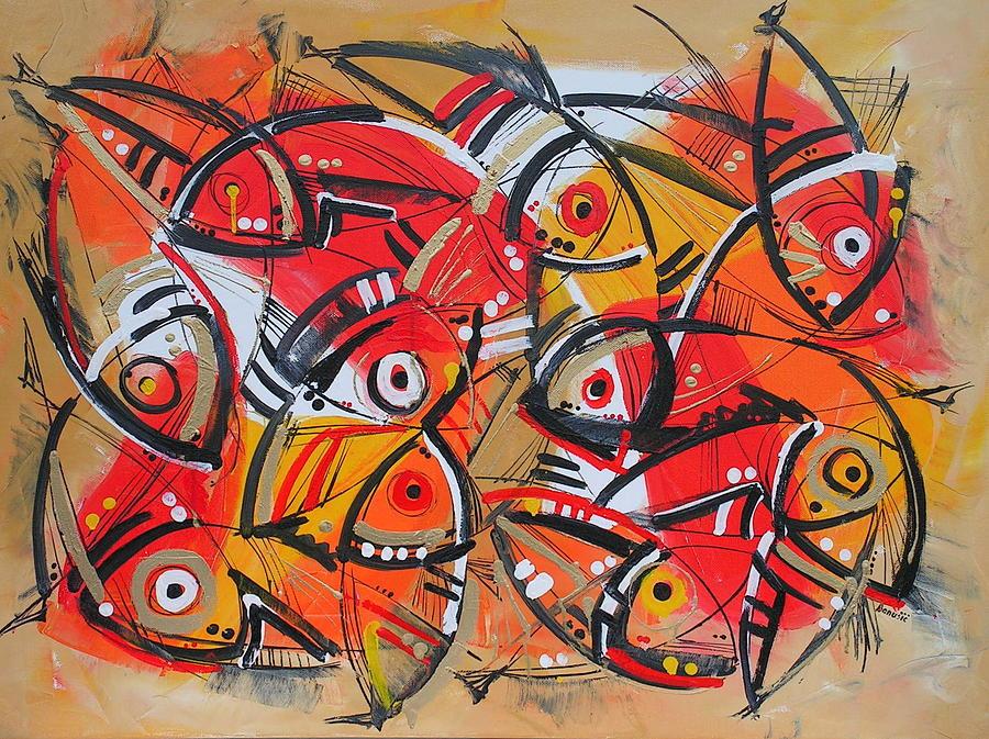 Animal Paintings Painting - Goldfishes by Jasminka  Banusic