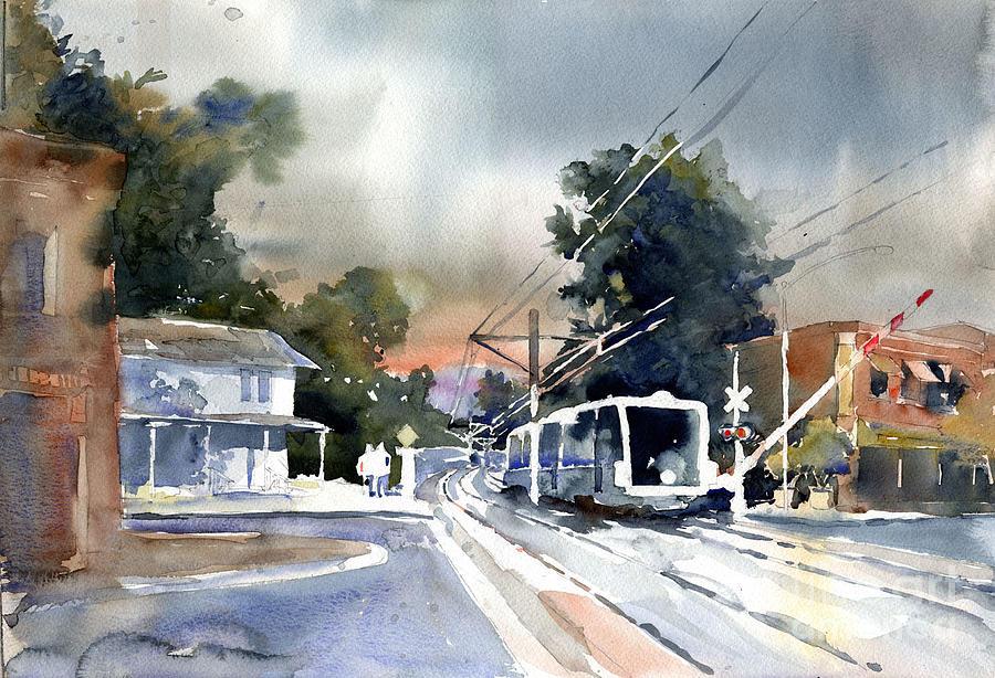 Train Painting - Goldline At Mission by John Byram