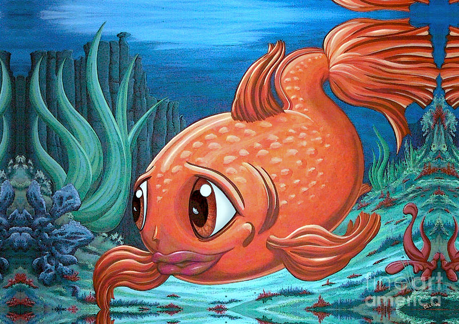 Fish Painting - Goldly by Oliver Betsch