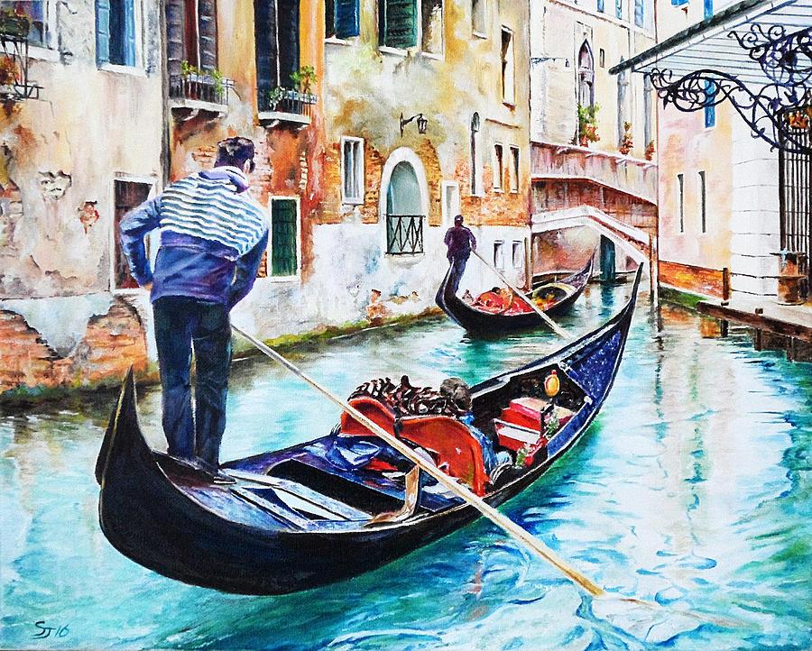 Venice Painting - Gondola on the Grand Canal, Venice, Italy by Steve James