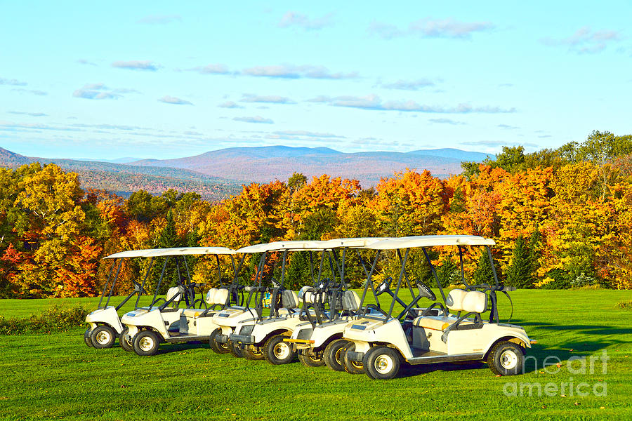 Golf Carts Photograph - Golf Carts On Vermont Golf Course by Catherine Sherman