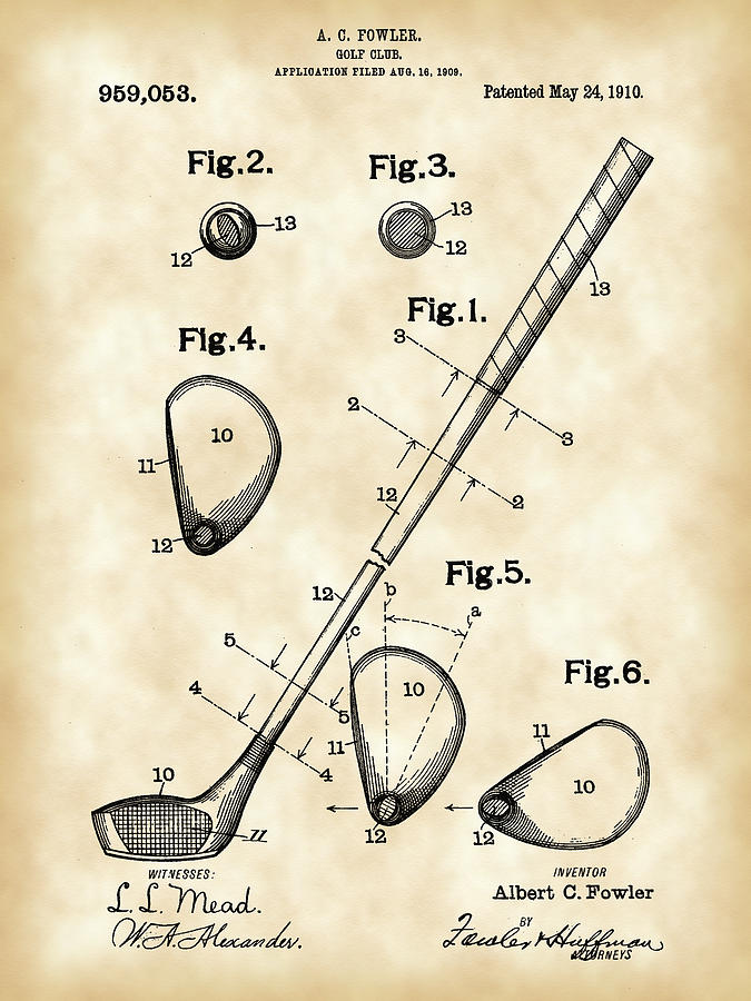 Golf Club Patent 1909 - Vintage Digital Art by Stephen Younts