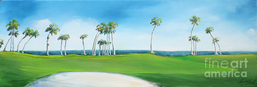 Golf Painting - Golf Course With Palms by Michele Hollister - for Nancy Asbell